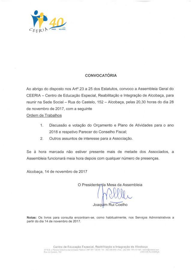 ceeria.com - Assembleia Geral do CEERIA_Convocatória