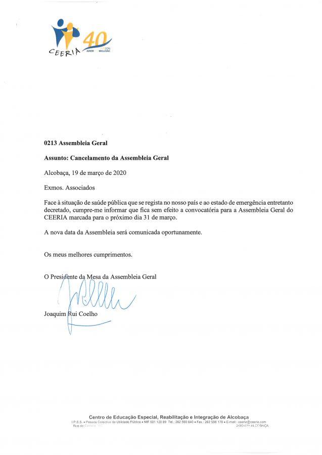 ceeria.com - Cancelamento da Assembleia Geral